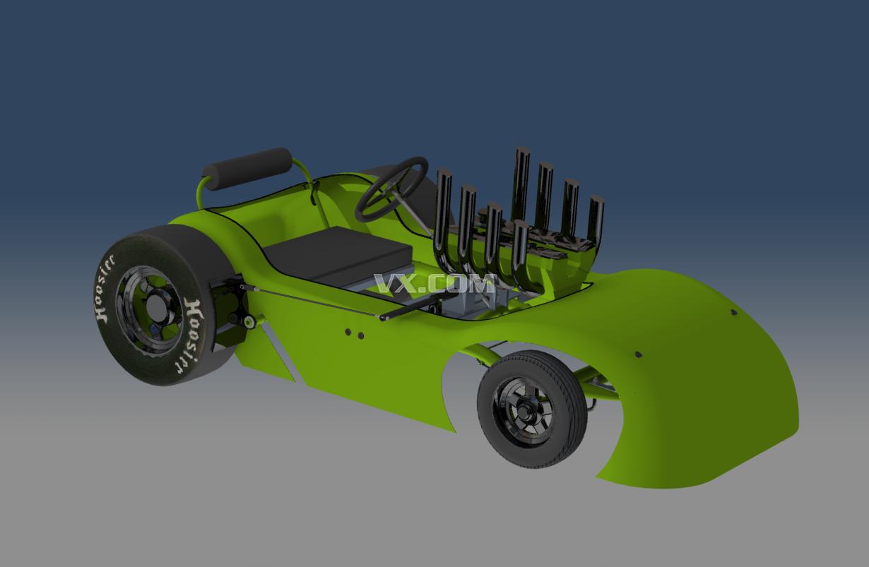 肥皂箱赛车_solidworks_创意设计_3d模型_图纸下载