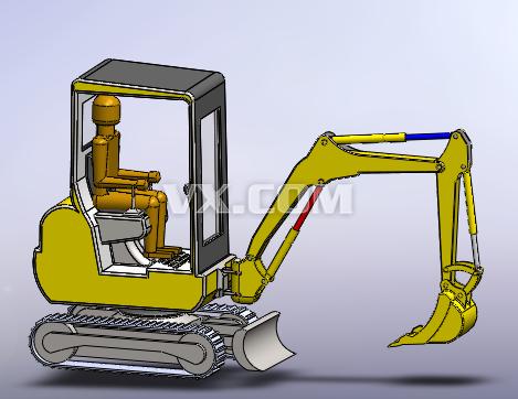 挖掘机_solidworks_交通工具_3d模型_图纸下载_微小网