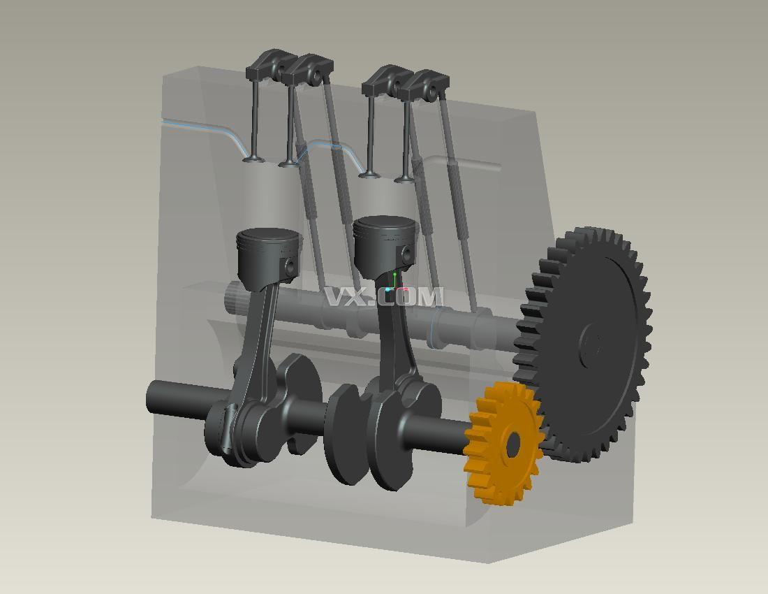 双缸发动机_pro/e_机械设备