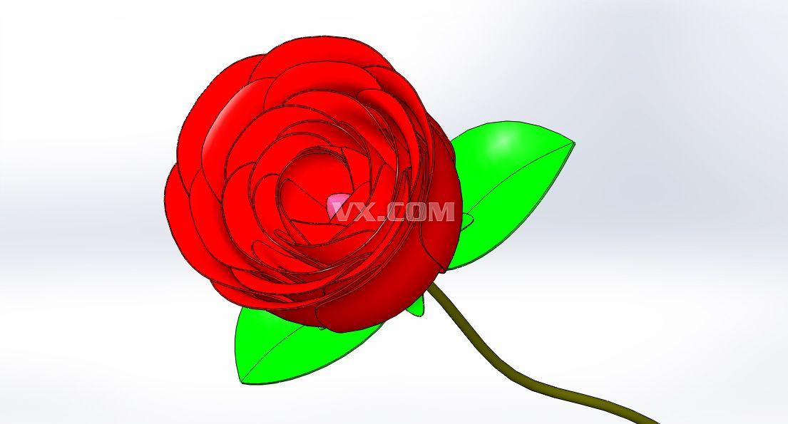 自画红玫瑰_solidworks_创意设计_3d模型_图纸下载