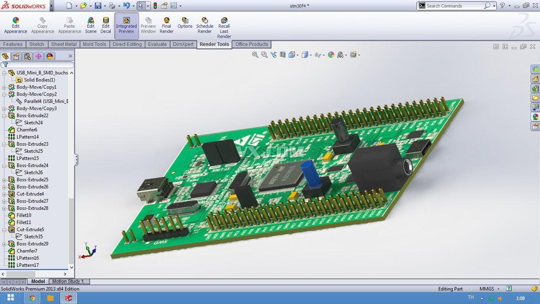 stm32f4电路板_solidworks_电路结构_3d模型_图纸下载