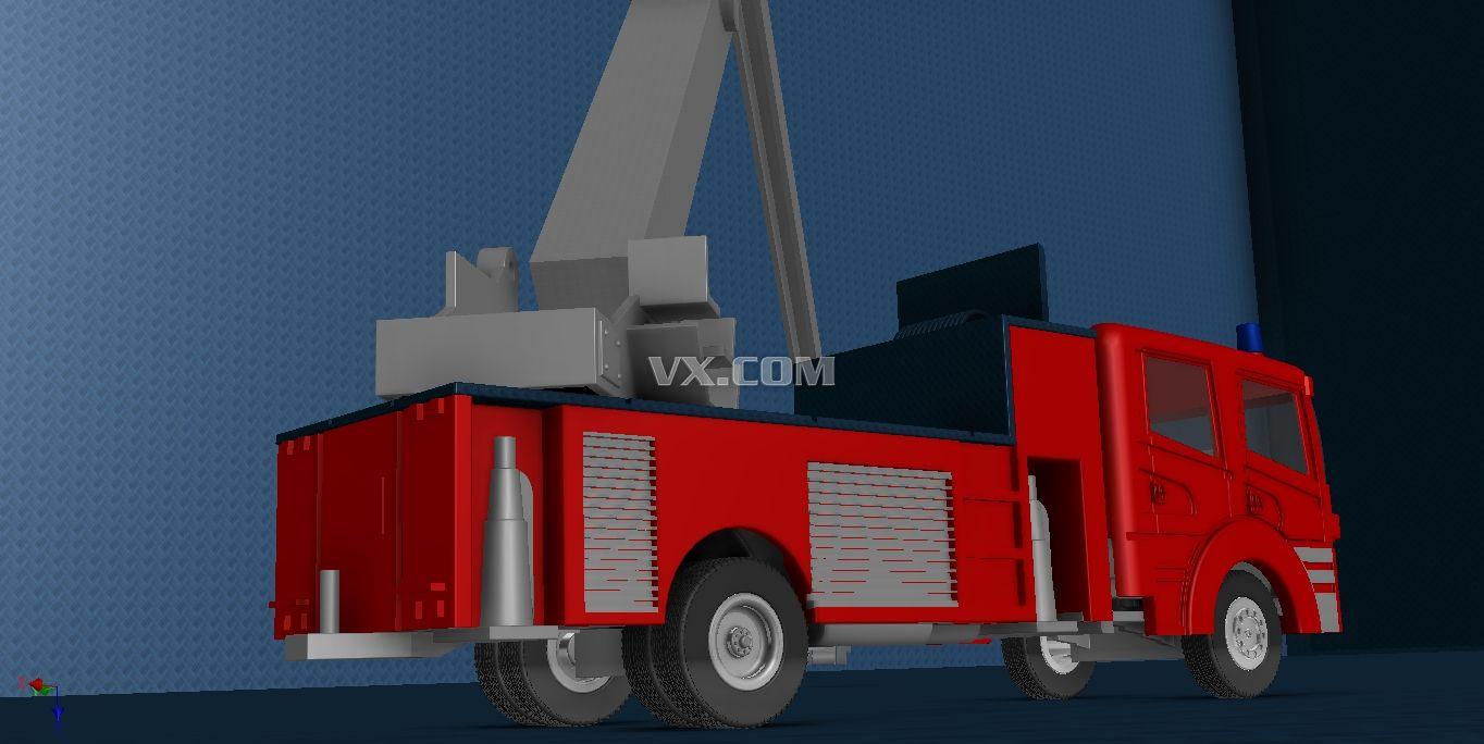 红色的消防车矢量图_交通工具