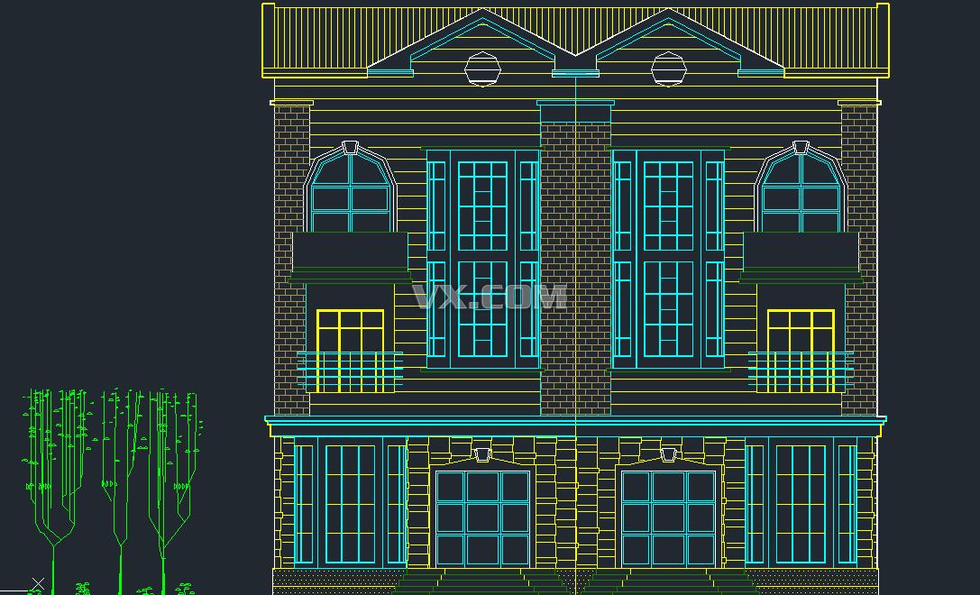 排屋院子手绘平面
