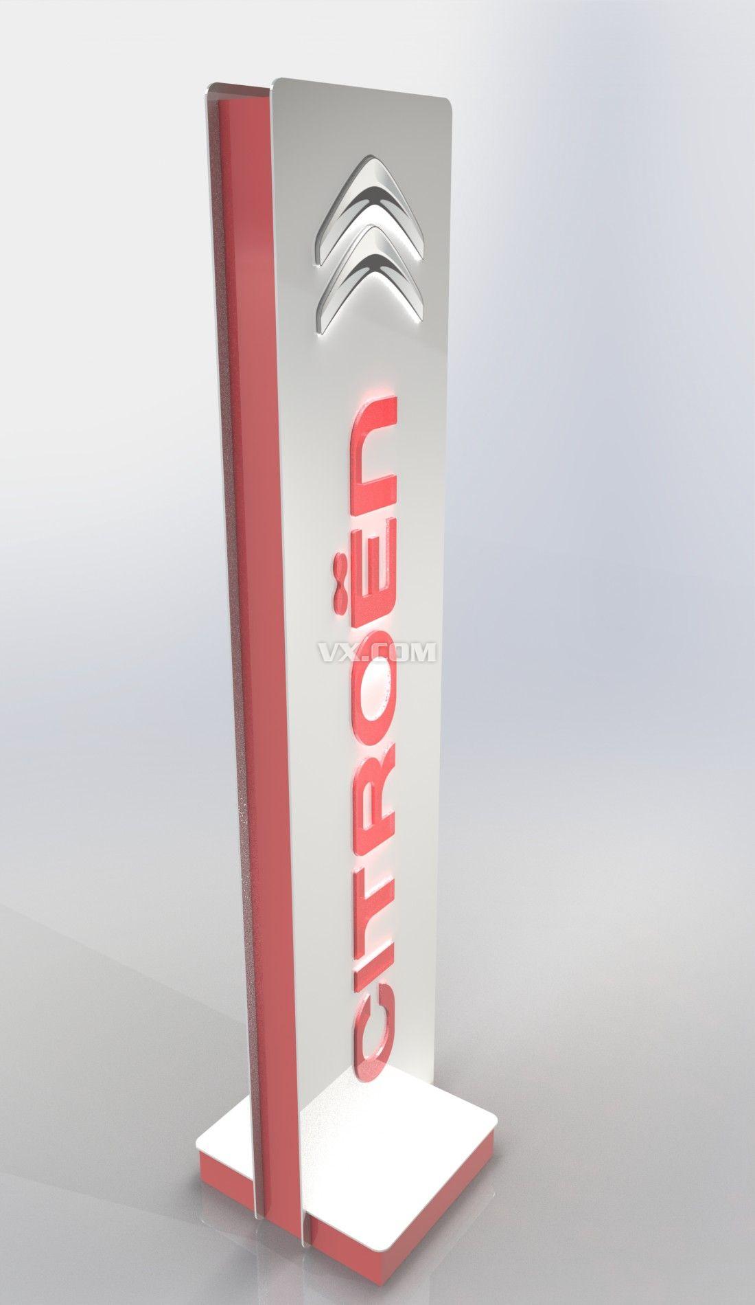 雪铁龙立式广告牌3d模型图片
