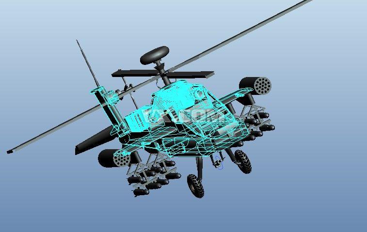 阿帕奇直升机_pro/e_航天航空_3d模型_图纸下载_微小网