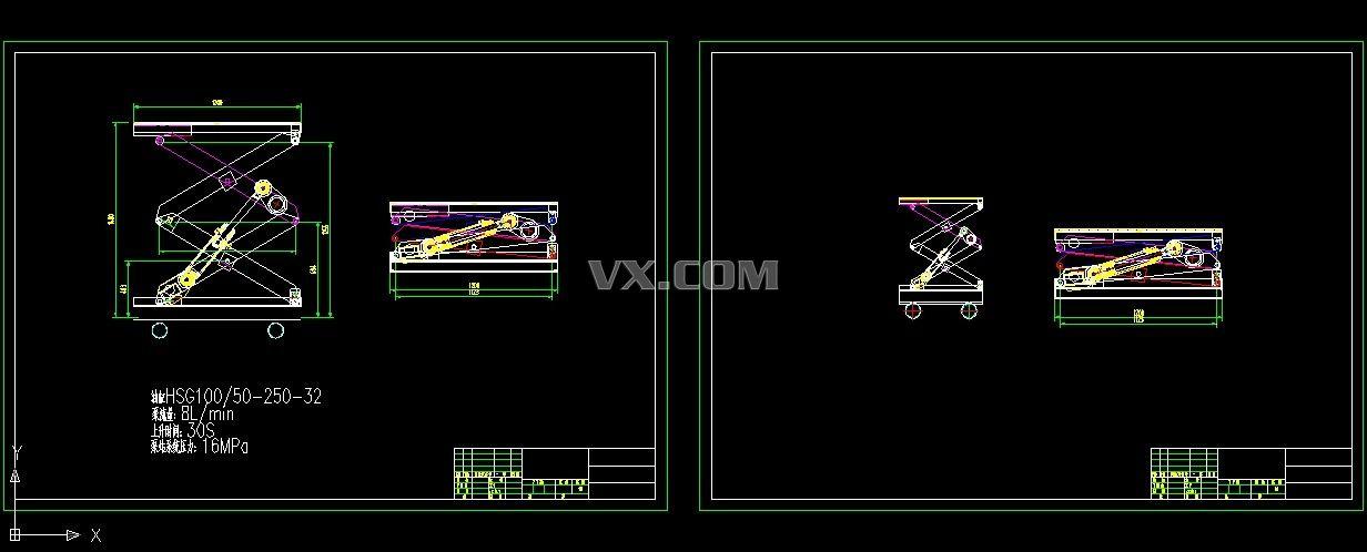 双层液压升降台cad图纸_autocad/zwcad _机械设备_3d