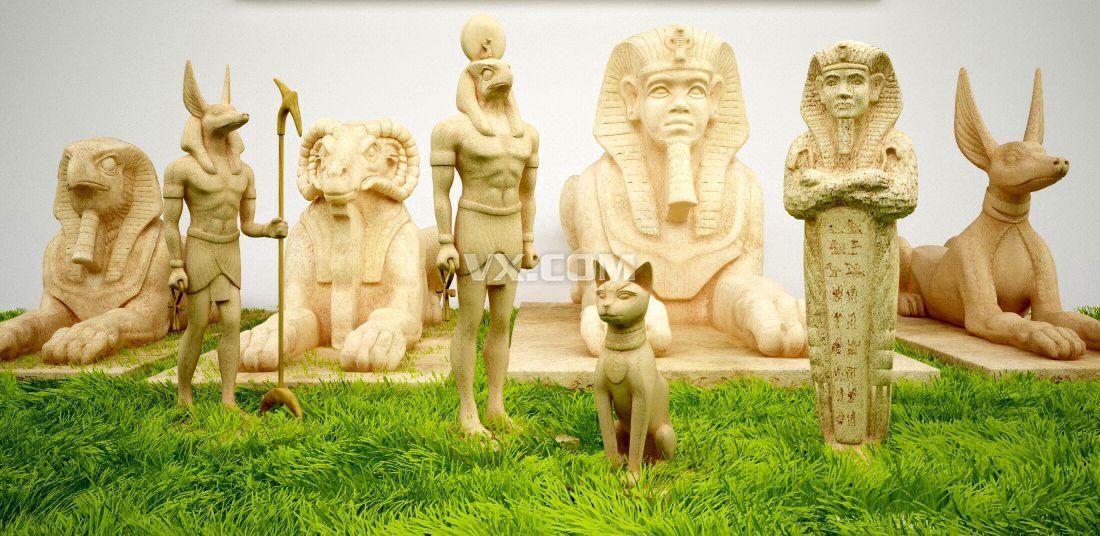 埃及神话人物动物可3d打印模型