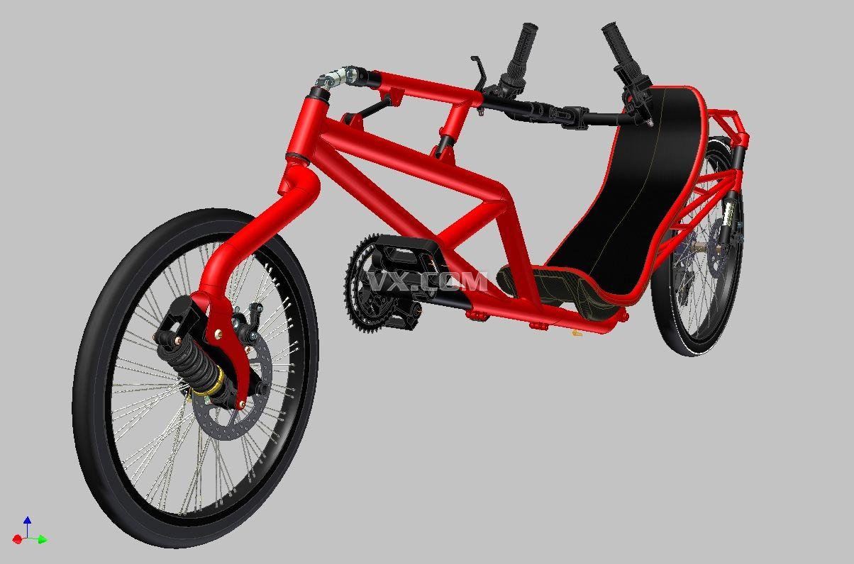 躺式自行车结构设计和3d模型
