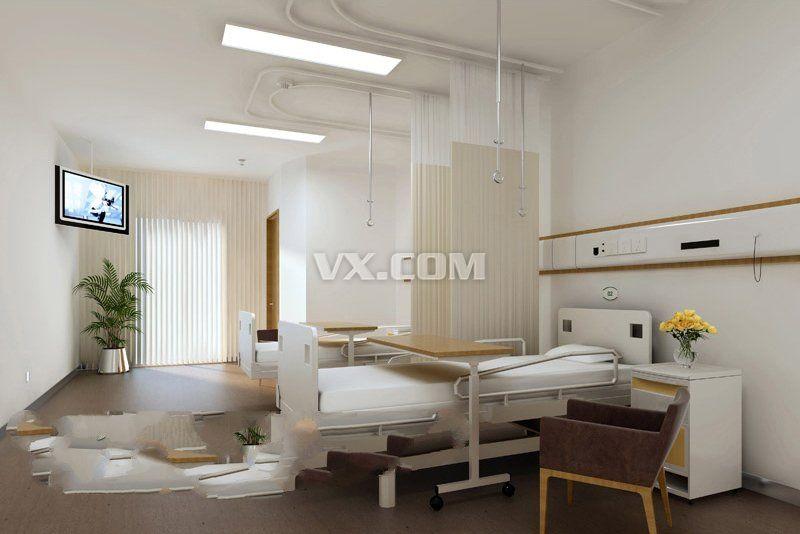 实用型医院病房装修设计方案 max格式_3dsmax_装饰_3d