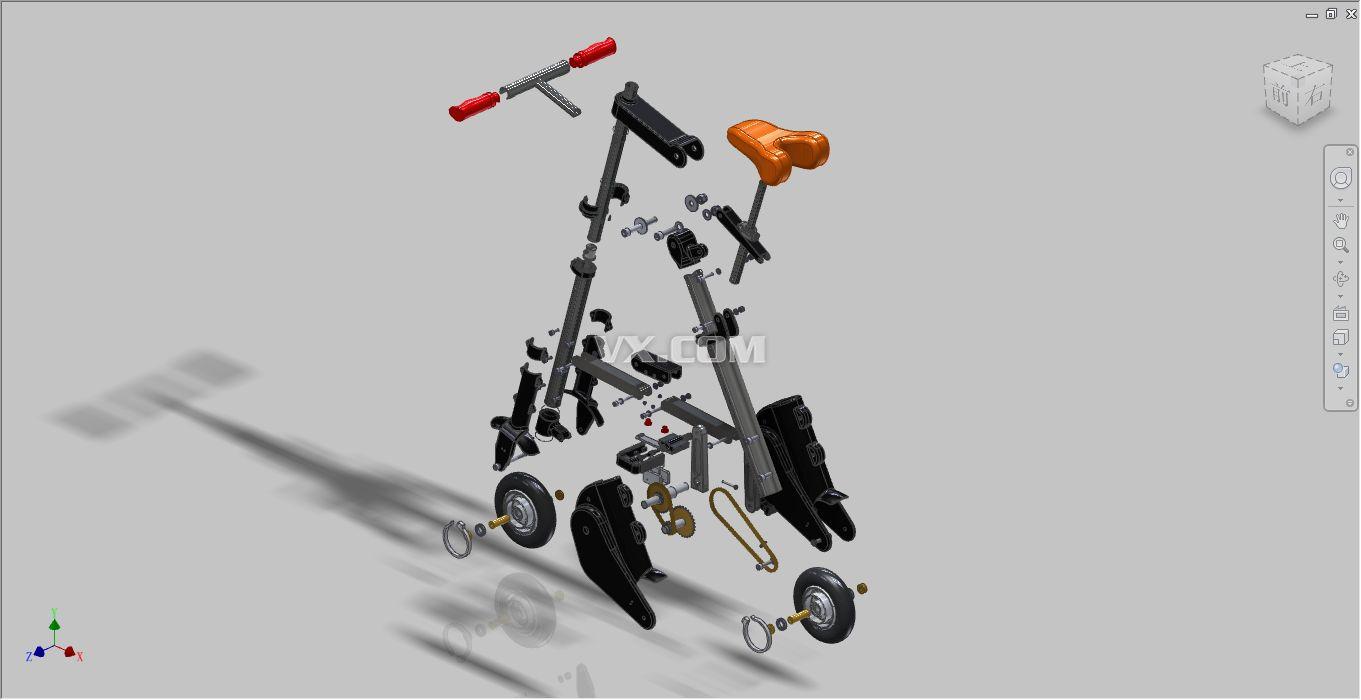 单车设计_inventor_运动器械_3d模型_图纸下载_微小网