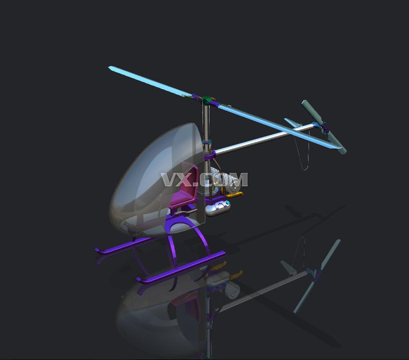 单发直升机_nx_航天航空_3d模型_图纸下载_微小网