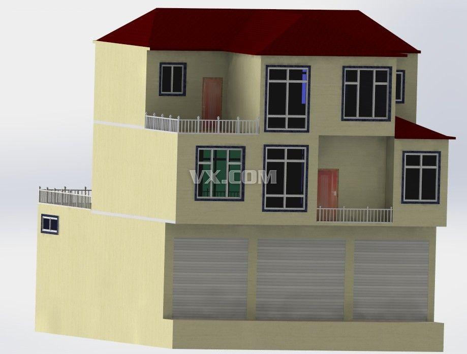 别墅建模与结构_solidworks_建筑_3d模型_图纸下载