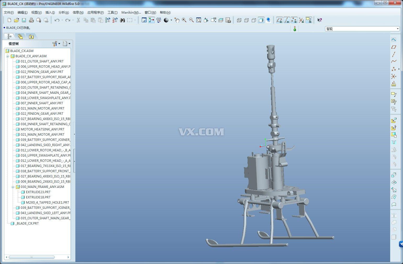cx006直升飞机结构图_pro/e_航天航空_3d模型_图纸