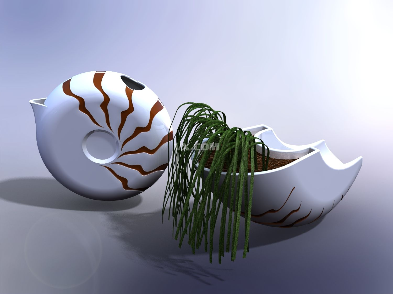 鹦鹉螺花盆_solidworks