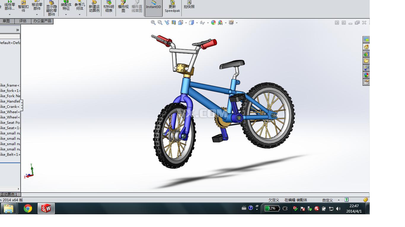 山地自行车_solidworks_运动器械_3d模型_图纸下载
