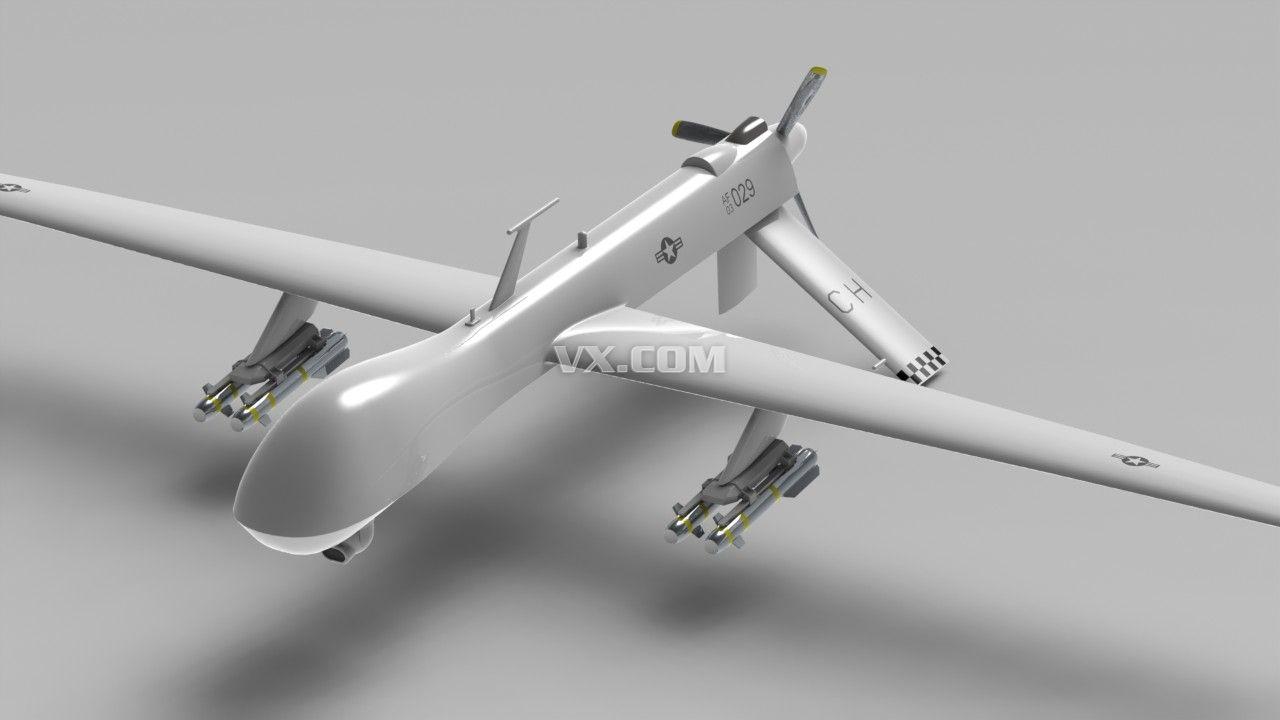 捕食者无人驾驶飞机3d设计图纸下载