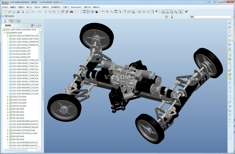 结构完整的阿克曼汽车底盘系统