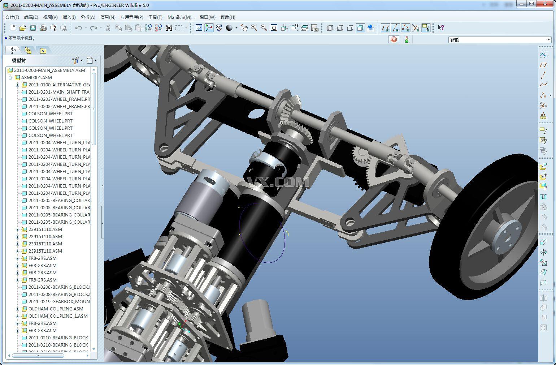 后桥部分 结构完整的阿克曼汽车底盘系统高清图片