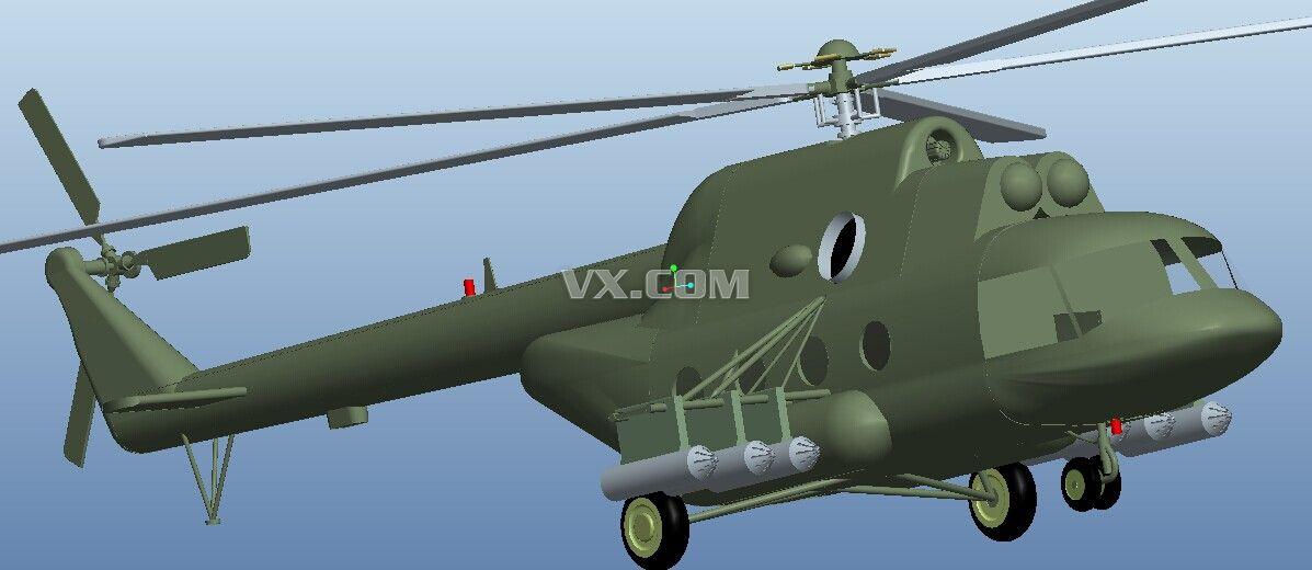 米-17直升机_pro/e_航天航空_3d模型_图纸下载_微小网
