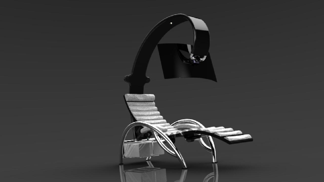 基于人体工程学设计的带电脑支架的按摩仪