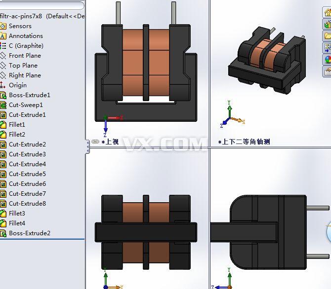 电源变压器_solidworks_电路结构_3d模型_图纸下载
