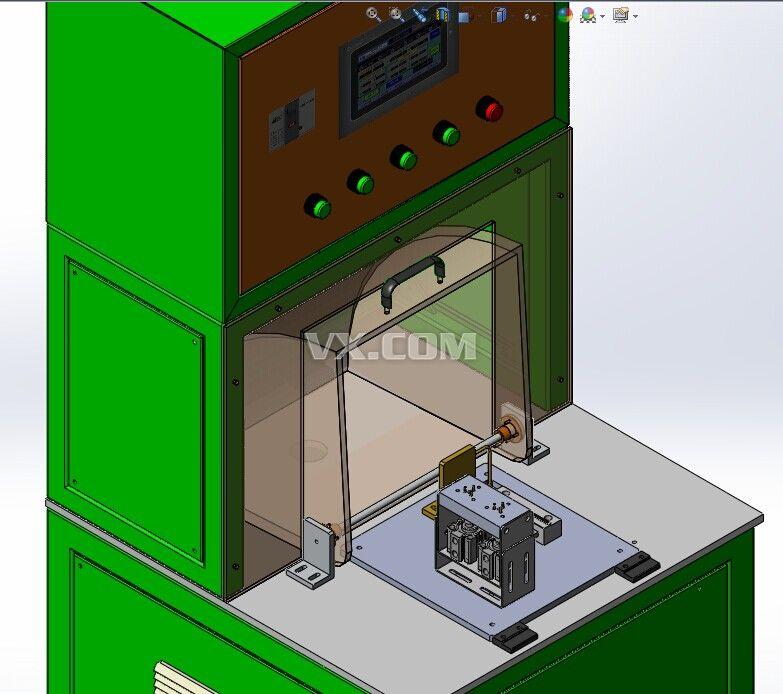 此设备用于检测压缩机电机的热保护器,电机定子的线圈处有一个玻璃管的保护器,电机定子绕线组装成型后,为了检测保护器的好坏,需要用到此设备,检测时设备工位上有调节滑块,可根据电机定子的大小调节宽度,检测时将被测电机放在检测工位处后,电机插头插在左侧的电极插销处,然后合上有机玻璃翻盖,这时开始自动检测,检测时,定子的保护器置于U形铜管的中心,铜管通过高频加热设备进行加热,这样在特定温度以及通电正常的定子,在温度达到限定值后,保护器自动断开,说明保护器工作正常。