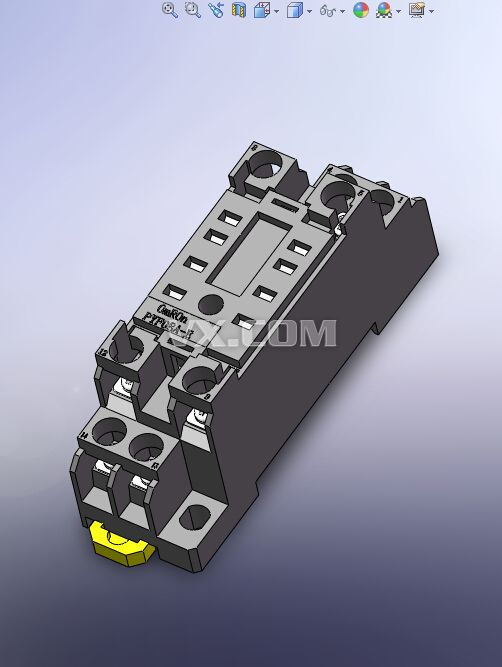 欧姆龙继电器座pyf08a-e_solidworks_电气管路_3d模型