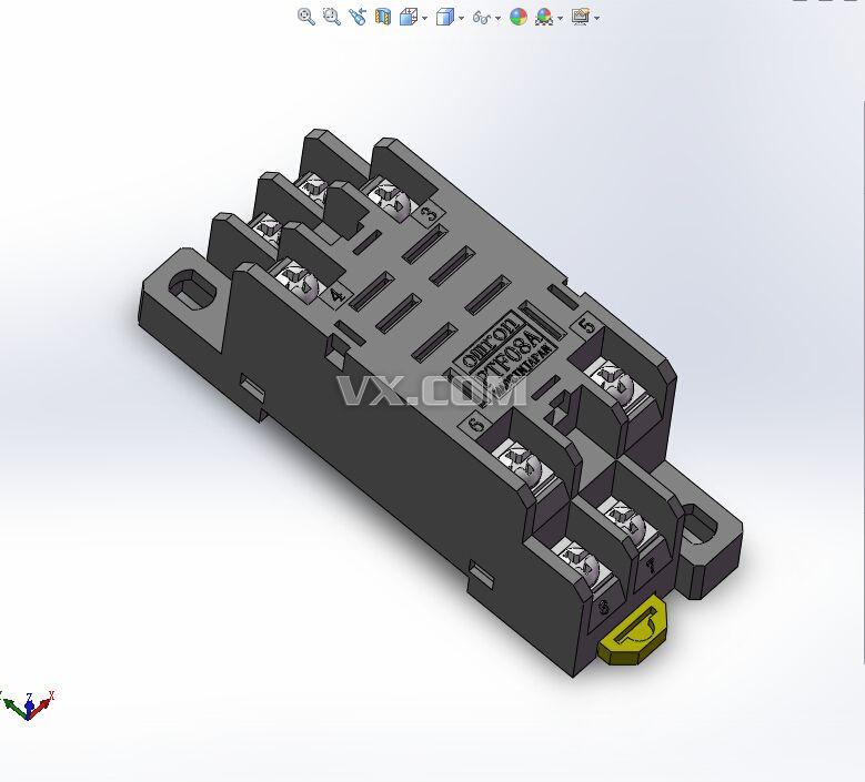 欧姆龙继电器座ptf08a_solidworks_机械设备_3d模型