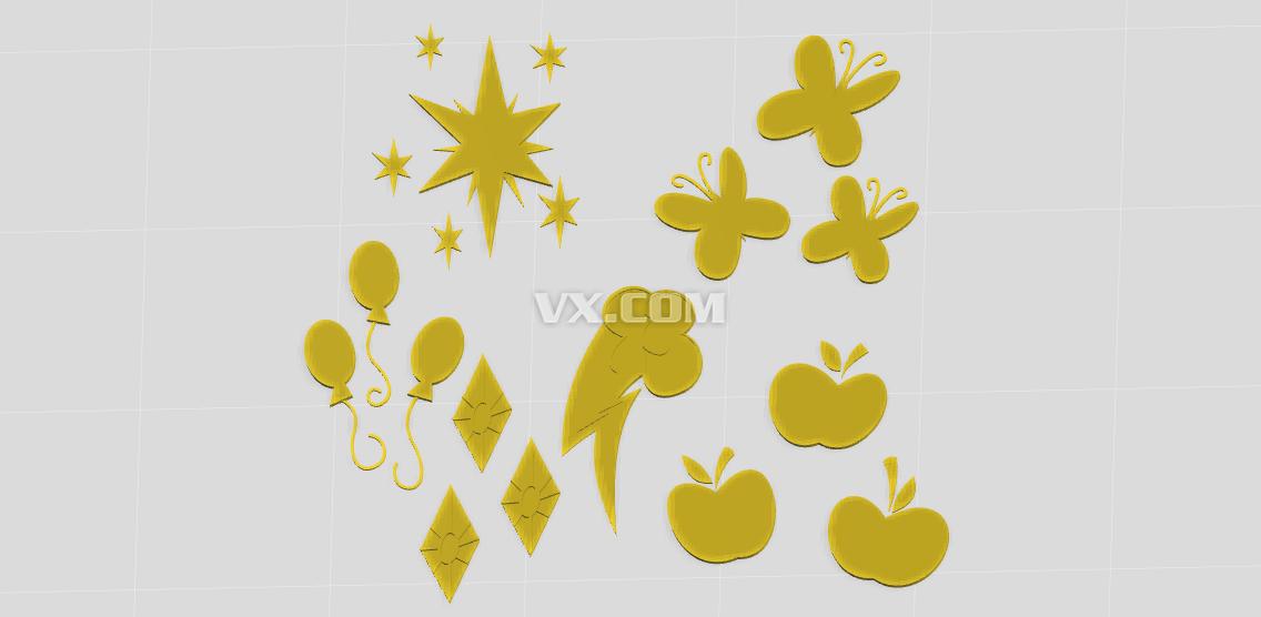 常用的装饰物(苹果,蝴蝶,星星等)