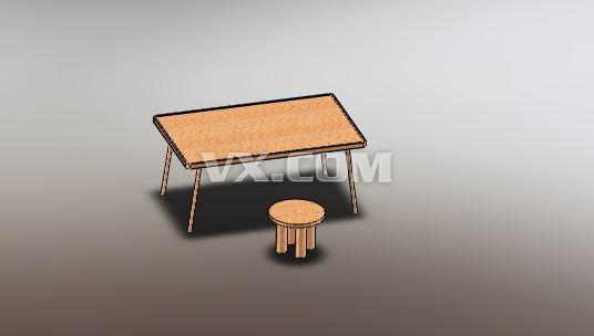 原生态木质桌子_solidworks