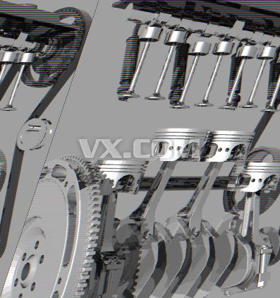 四冲程八缸发动机设计_solidworks_航天航空_3d模型