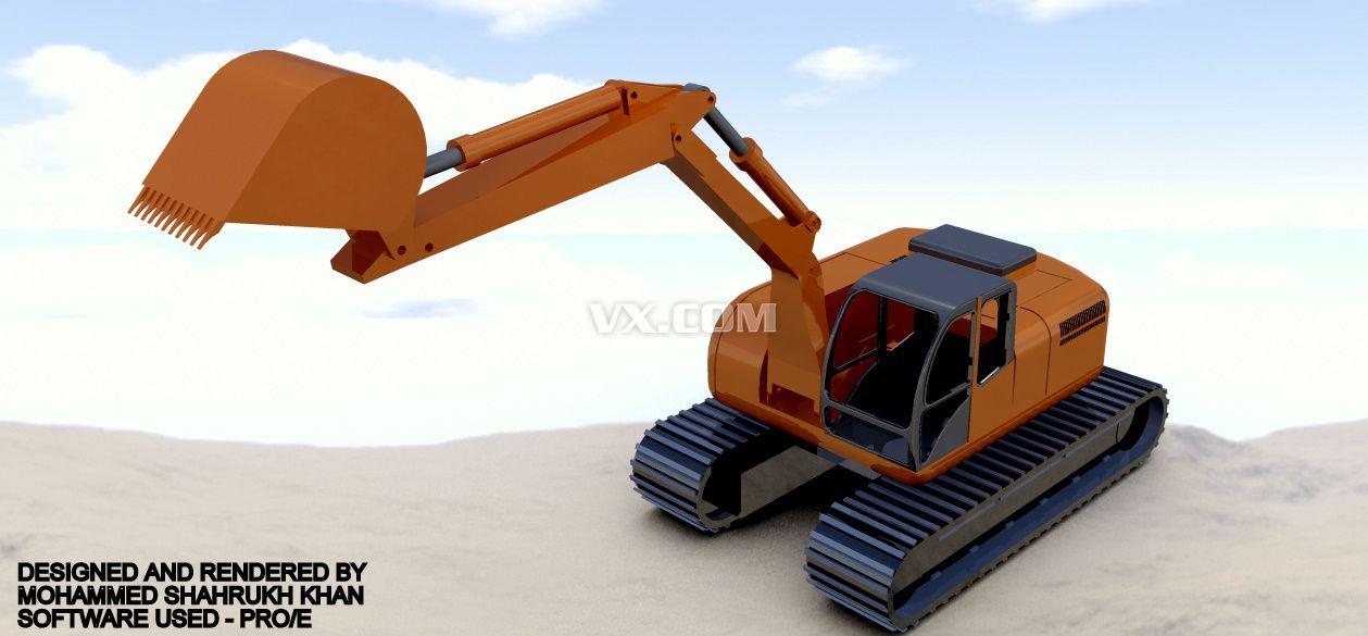 日立液压挖掘机设计_step/stp_机械设备_3d模型_图纸图片