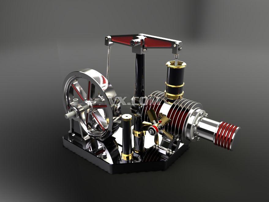 斯特林发动机_solidworks_机械设备_3d模型_图纸下载