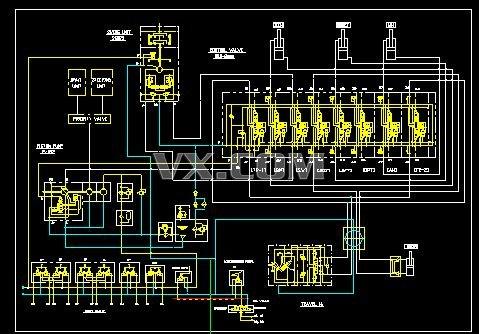 8吨轮挖液压原理图_autocad/zwcad_机械设备_3d模型
