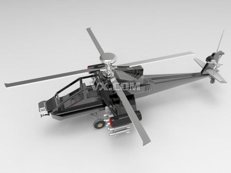 阿帕奇直升机模型_creo