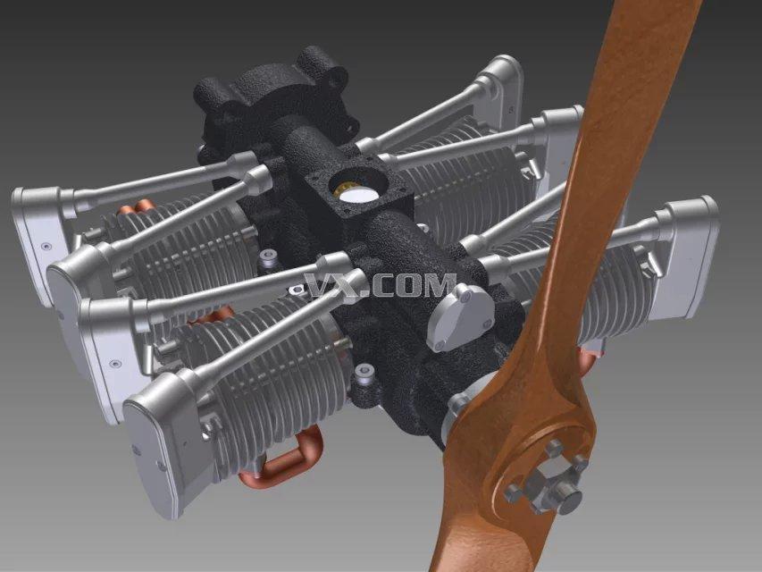 航空四冲程发动机(带运动仿真)