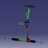 EPS电动助力转向系统(转向器)设计-电动助力式齿轮齿条转向器二维图三维图