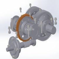 蜗轮蜗杆圆柱斜齿轮二级减速器三维图3D
