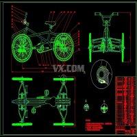 小型四轮山地自行车的设计【含2张CAD图纸】