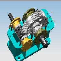 单级圆柱齿轮减速器装配图UG三维图