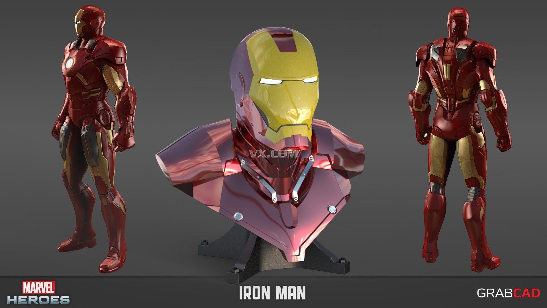钢铁侠》中的英雄人物.分享个钢铁侠头像3d图纸,iges格式.高清图片