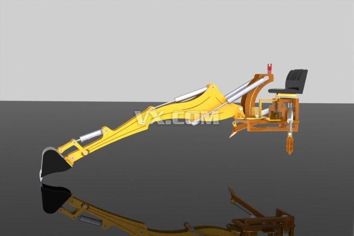 反铲挖掘机_iges/igs_机械设备_3d模型_图纸下载_微小