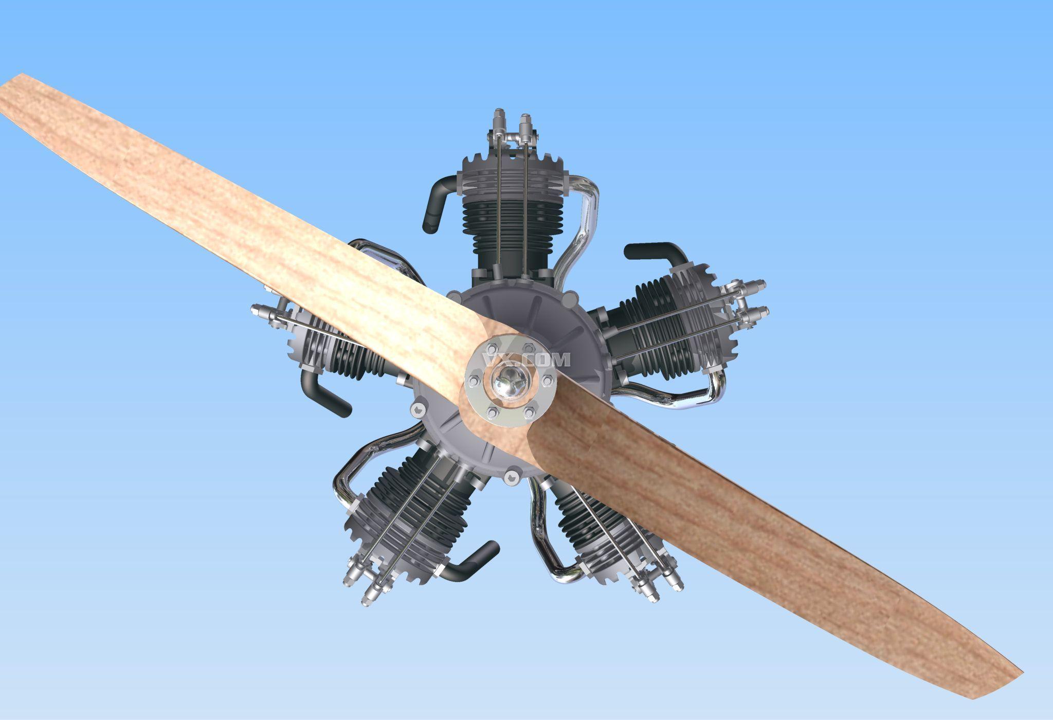 5缸星形飞机引擎_pro/e_航天航空_3d模型_图纸下载
