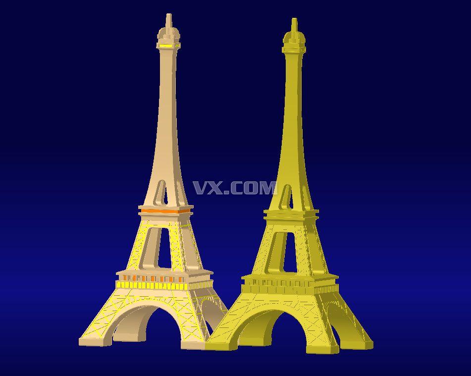 埃菲尔铁塔_iges/igs_创意设计_3d模型_图纸下载_微小