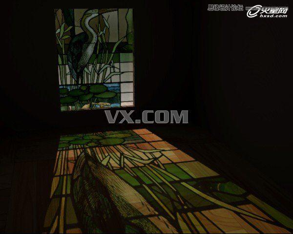 光线被过滤,从窗户中射进来,这样就得到了彩色玻璃投射在地上的效果.