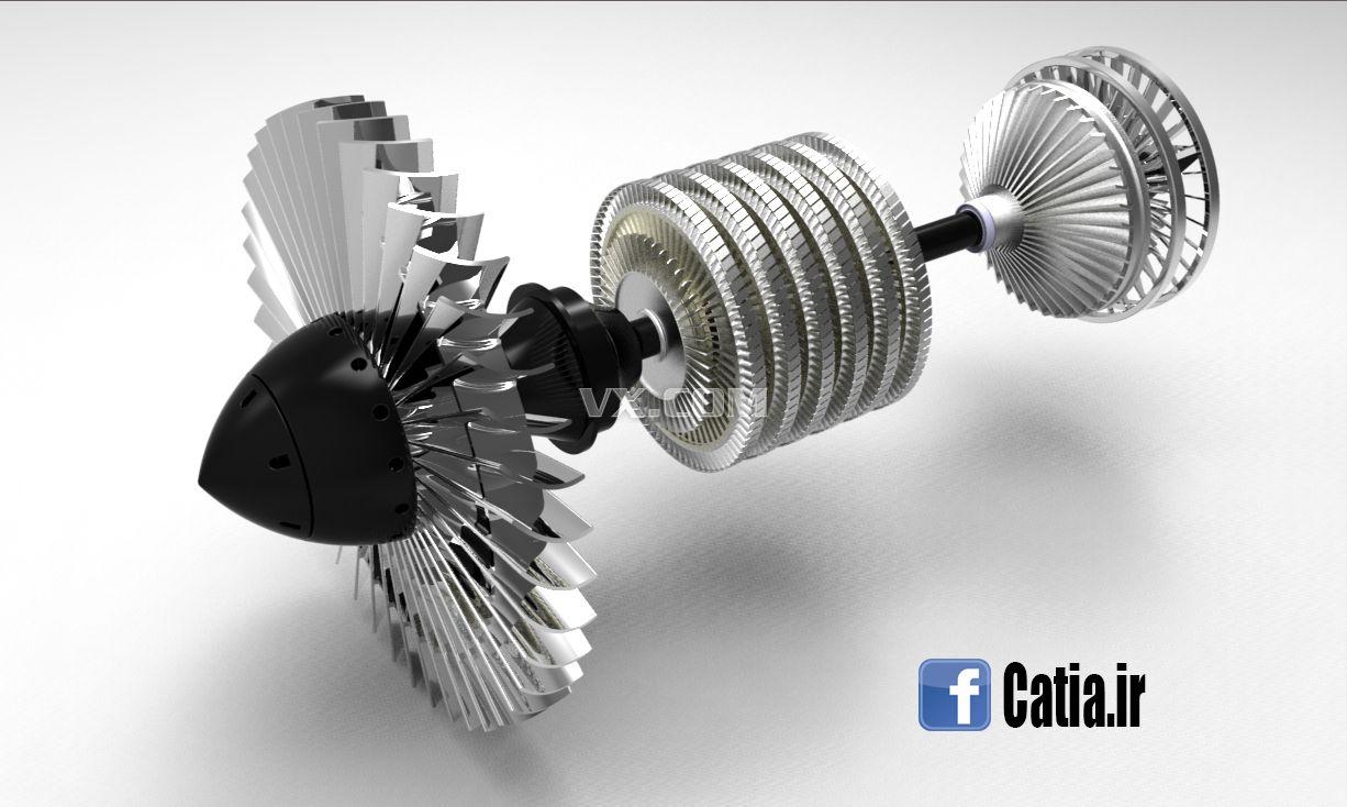 飞机涡轮发动机内部结构