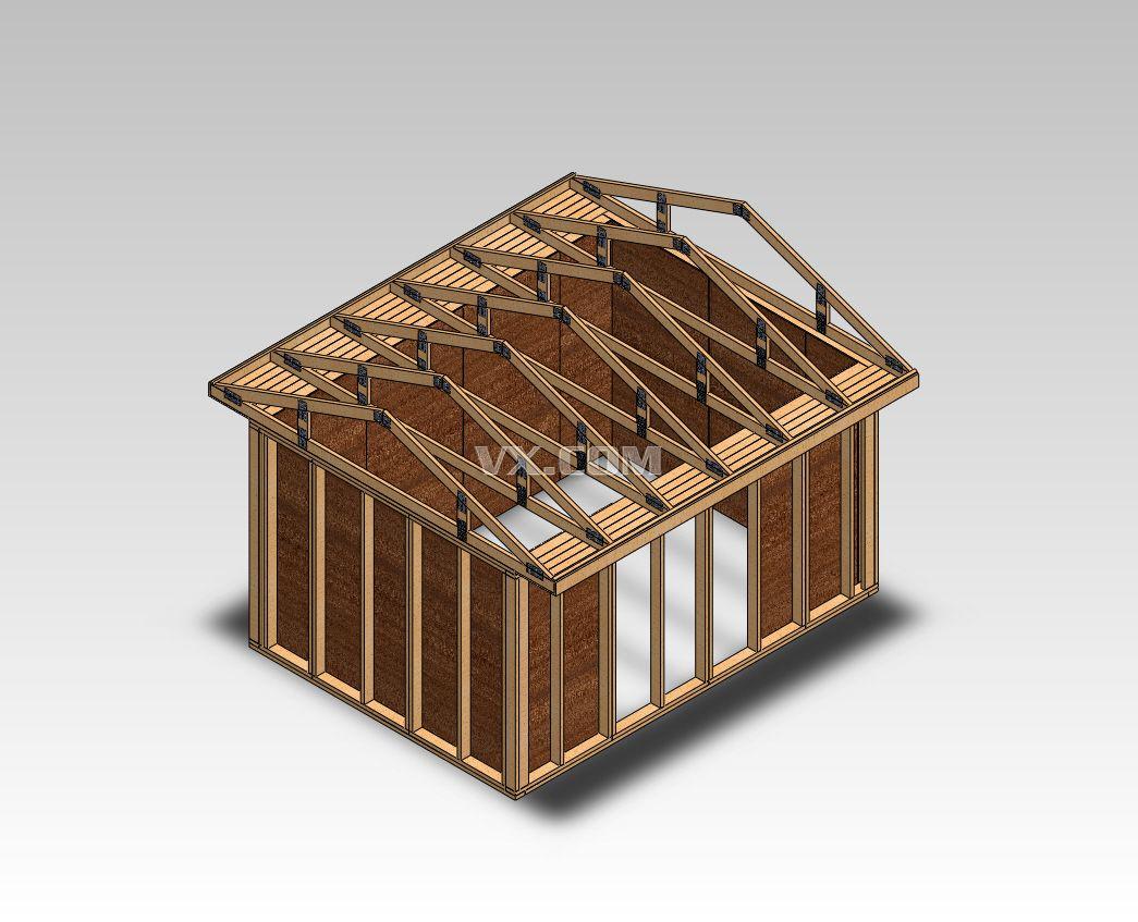 小木屋框架_solidworks