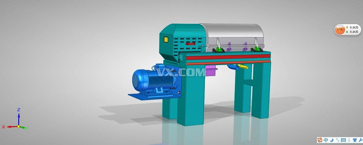 三相卧式螺旋离心机_solidedge_机械设备_3d模型_图纸图片